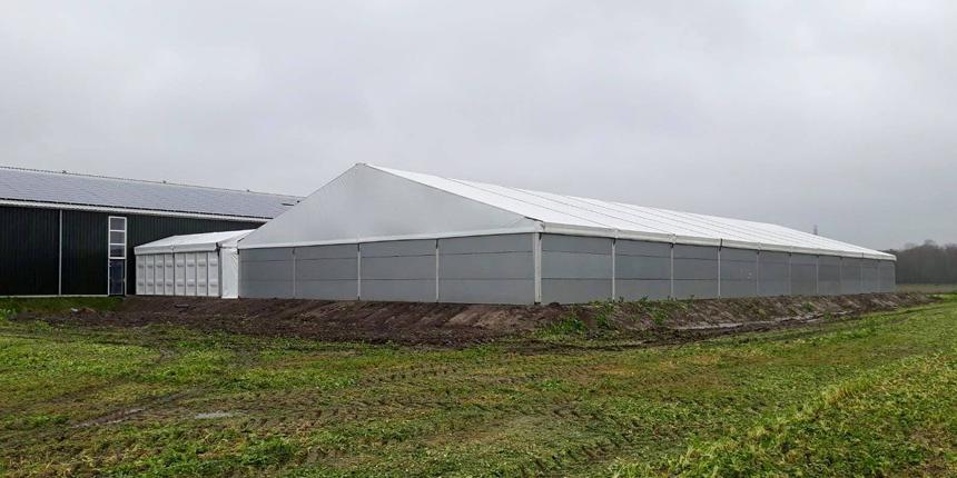 Opslag tent voor champignons