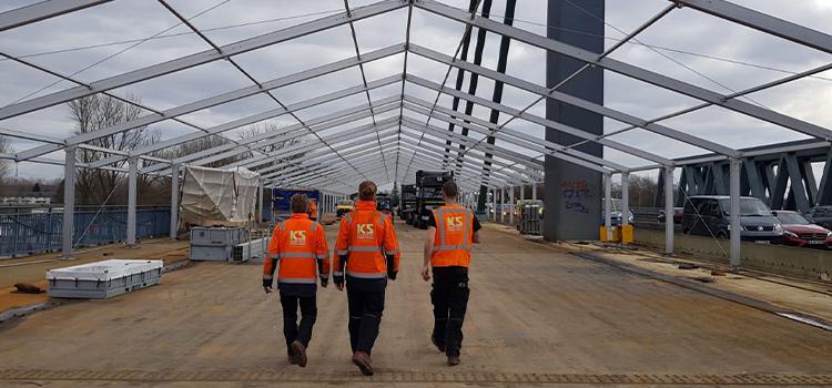 Construction workers in Germany Rheinbrucke