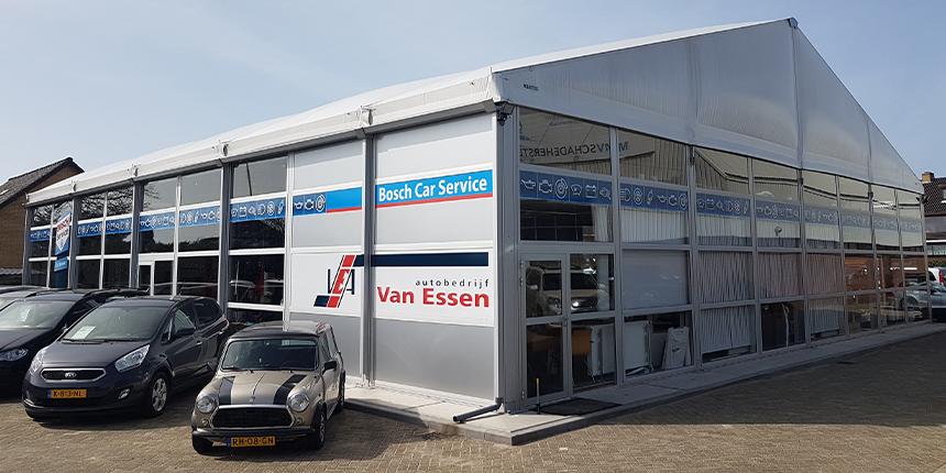 tijdelijke garage voor van Essen autobedrijf